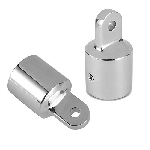 Amadget 2 PCS 34 Bimini Top Caps Tube Canopy Hardware Eye End Top Fitting Marine 316 Stainless Steel
