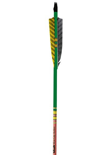 Rose City Archery Port Orford Cedar Extreme Elite Arrows with Mahogany Stain Lacquered Shaft 4 Length Shield Fletch 516 Diameter 35-40 lb Spine Weight 12 Pack Green