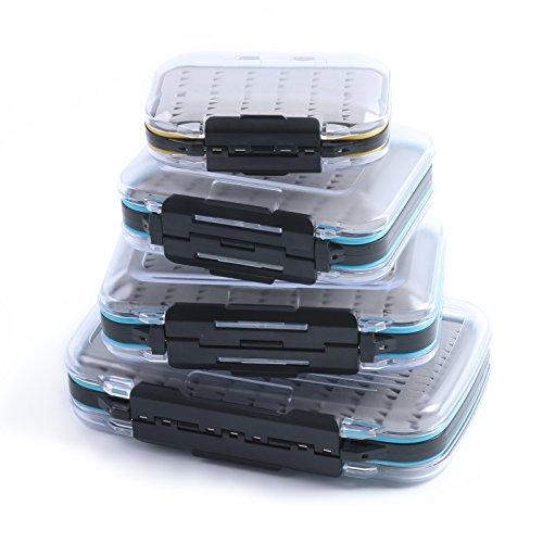 Maxcatch Waterproof Fly Box Double Clear Lid Fly Fishing Box Easy Grip Foam Size C