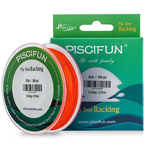 Piscifun Braided Fly Fishing Backing Line 20LB 100yds Orange