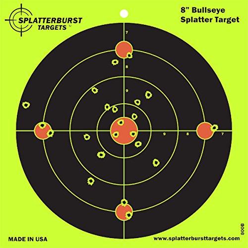 Splatterburst Target - 8 inch Bullseye Reactive Shooting Target - Shots Burst Bright Fluorescent Yellow Upon Impact - Gun - Rifle - Pistol - AirSoft - BB Gun - Pellet Gun - Air Rifle 25 pack