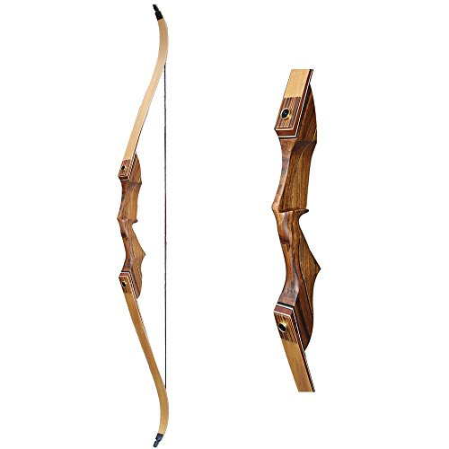 IRQ 60inch Takedown Recurve Bow Kit for Hunting Right Hand Lamination Wooden Bows Archery Target Practice Bow for Adults Youngers Hunter 35-55lbs As Shown 45Lbs