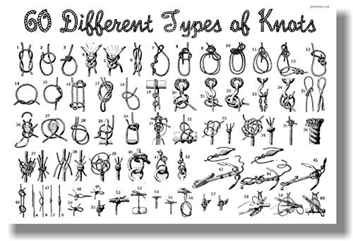 60 Different Types of Knots - NEW Fishing Boating Scouting Poster