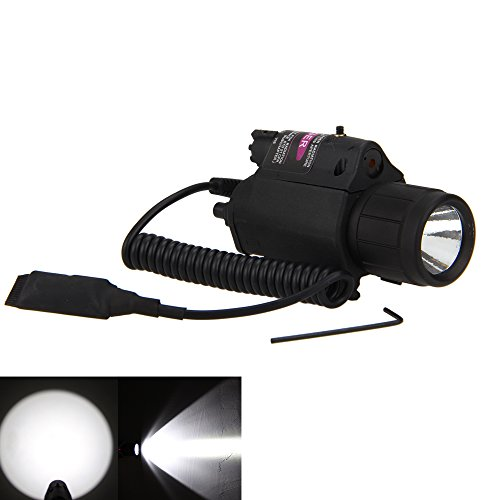 Picatinny Flashlight Glock Laser Sights P08 180 Lumen Weapon Light and Red Laser Dot Sight for Home Defense