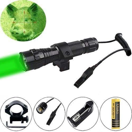 Ulako Green light LED Coyote Hog Pig Varmint Predator Hunting Light Flashlight with Remote Pressure Switch