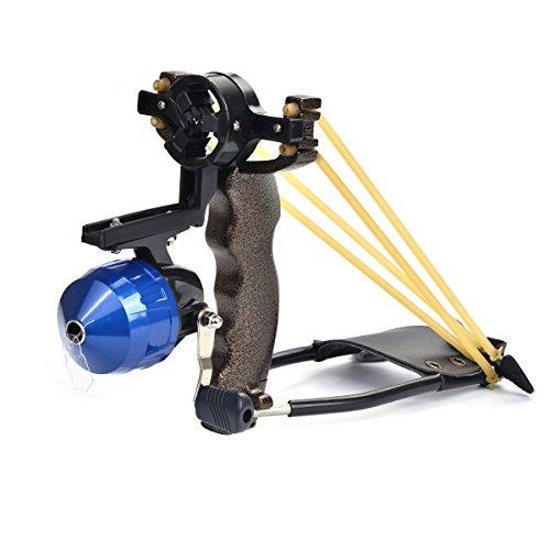 PopshotTM Powerful Pro Fishing Slingshot Bow Reel Catapult Archery Bowfishing Arrows Slingbow with Arrow Brush Fishing ReelBlue