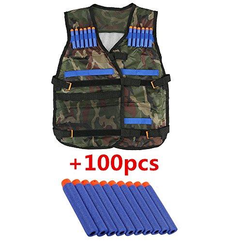 Top Home Dec Kids N-Strike Elite Camouflage Tactical Vest Kit Adjustable with Storage Pockets  100 Pcs Refill Gun Bullet