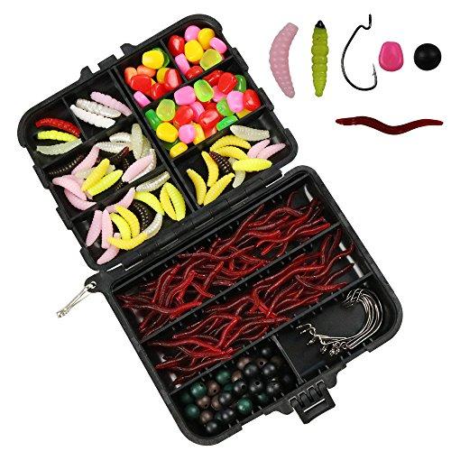 205pcs Carp Fishing Tackle Set Fishing Kit Including Soft Fishing Lures Fishing Beads Worm Lures and Worm Hooks