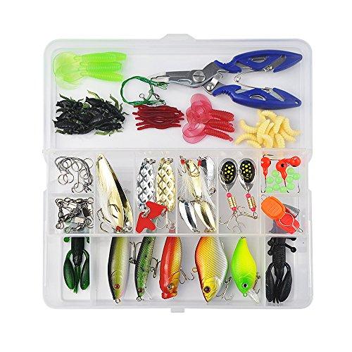 Vishusju Fishing Tackle Set 101Pcs Accessories Lure Baits Hard Soft Kit Pliers Hooks Fishing Gear Lots for Freshwater Saltwater