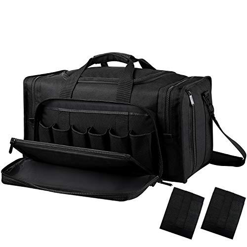SoarOwl Tactical Gun Range Bag Shooting Duffle Bags for Handguns Pistols with Lockable Zipper and Heavy Duty Antiskid Feet Black