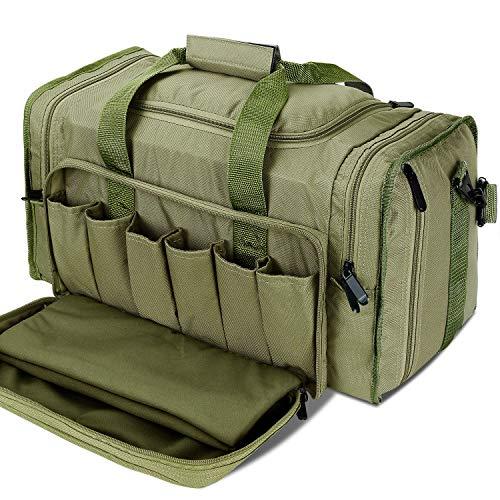YumyKit SoarOwl Tactical Gun Range Bag Shooting Duffle Bags for Handguns Pistols with Lockable Zipper and Heavy Duty Antiskid Feet ArmyGreen