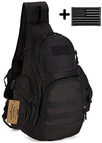 ArcEnCiel Tactical Sling Pack Backpack Military Shoulder Chest Bag with Patch Black