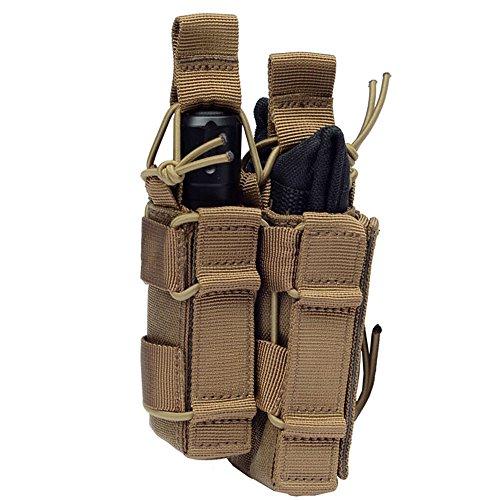 Tactical MOLLE Magzine Pouch AR M4 M16 Pistol Magazine Holder Open-Top Double Decker Mag Pouch TAN