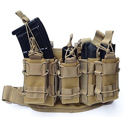 Molle Tactical Drop Leg Platform Leg Rig with 2 Attached Double Decker Magazine Pouch 1 Single Mag Pouch TAN