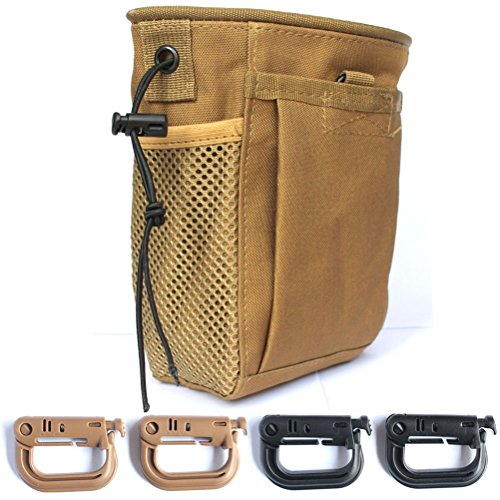 Masonicbuy Tactical Gear Bundles Tactical Molle Drawstring Magazine Dump Pouch and 4 Piece Grimloc Locking D-Ring Military Adjustable Belt Coyote Brown