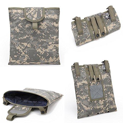 Warrior Quest 1000D Nylon Folding Tactical Dump Pouch – Foldable Molle Magazine Mag Dump Pouch ACU Camo