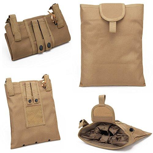 Warrior Quest 1000D Nylon Folding Tactical Dump Pouch – Foldable Molle Magazine Mag Dump Pouch Tan
