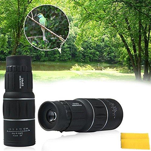 16x52 Dual Focus Optics Zoom Monocular Telescopes Day and Night Vision for BirdsWildlifehuntingcampinghikingTourismArmoring 66m 8000m