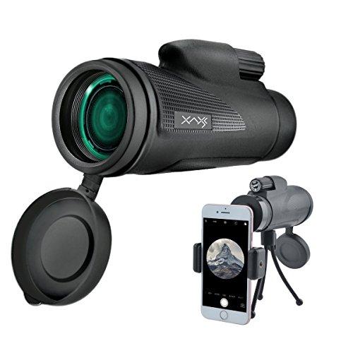 AXESX High Power Monocular Telescope 12×50 Waterproof Monocular Scope with Tripod Cellphone Holder Dual Focus Optics-Wide Angle HD Zoom Low Light Night Vision for Bird WatchingHuntingOutdoors