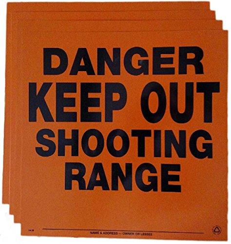 Aluminum Danger Keep Out Shooting Range Sign 4 pack Orange