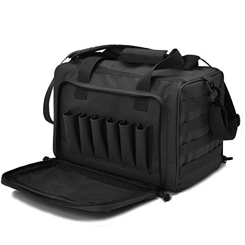 Tactical Gun Shooting Range Bag Deluxe Pistol Range Duffle Bags Black