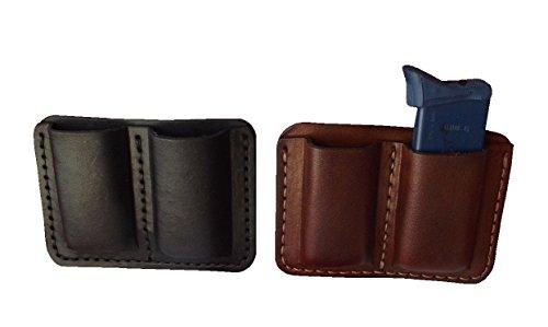 J&J Custom Premium Leather 380 Cal Single Stack Double Magazine Carrier Holder Holster WBelt Clip BLACK