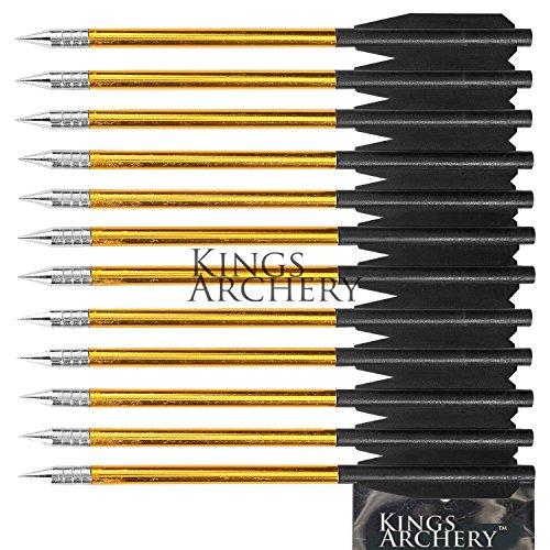 KingsArcheryCrossbow Arrows Aluminum 12 Pack 6 inch bolts in Black and Gold for Hunting Crossbow Pistol Precision Target Arrow  KingsArcheryWarranty