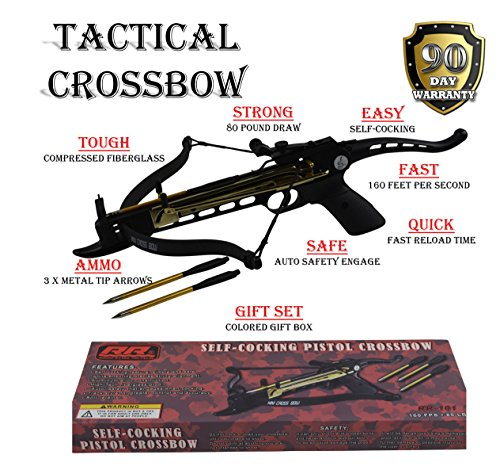 Rogue River Tactical 80lbs 80 Pound Pistol Crossbow with Arrow Holder w3 Cross Bow Bolts Arrows