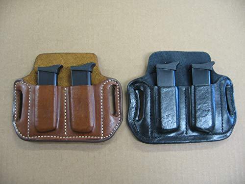 Azula Leather 2 Slot Molded Pancake Belt Mag Pouch for 1911 Single Stack Pistol Magazines Black