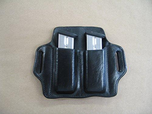 Taurus PT 100  101 40 Leather 2 Slot Molded Pancake Belt Mag Pouch BLACK