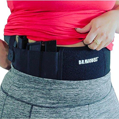 BRAVOBELT Belly Band Holster for Concealed Carry – FLEX FIT Appendix Inside Waistband Gun Belt Glock 17-43 Ruger S&W M&P 40 Shield Bodyguard Kimber More  Men Women - Perfect Gun Owner Gift