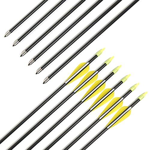 Fiberglass Arrows Archery 30 Inch Target Shooting Practice Arrows Recurve Bows Suitable for Children Women Beginner CT0046PCS