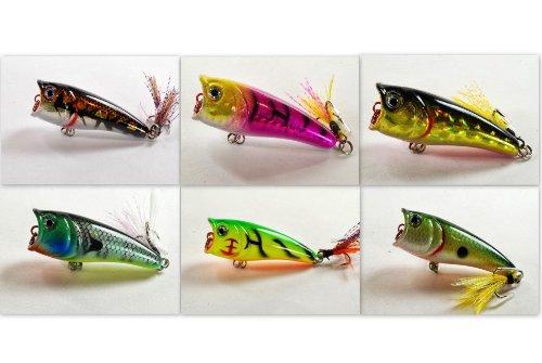 Akuna Pack of 6 Top Dog Series 24 inch Topwater Popper Fishing Lure BP 6 FLA 48 E