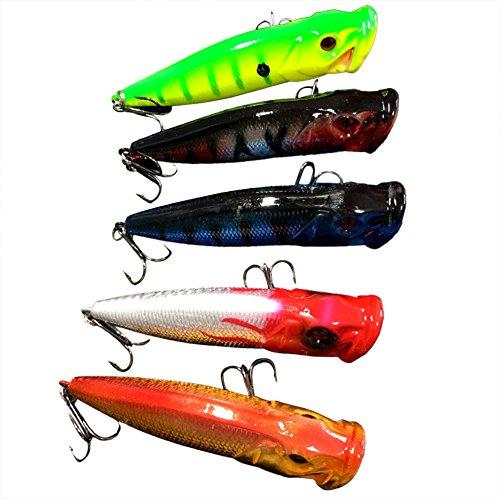 DERALA 5pcs Popper Fishing Lures Fishing Lures Bass CrankBait Top water Rattles 9cm12g