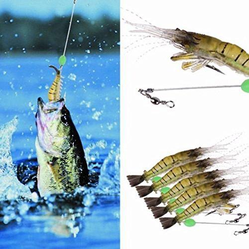 ttnight 5pcs Bionic Lure Shrimp Fishing Simulation Noctilucent Soft Prawn Lures Hook Baits Day Night use