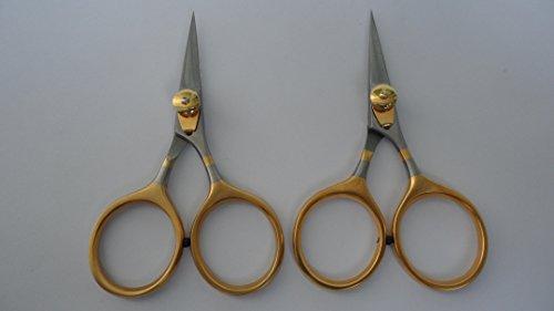 Branded fly tying Razor scissors 4 set Super sharp blades Gold loops