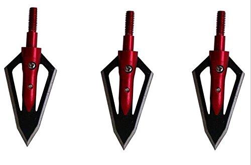 GPP 12Pack Steel Hunting Arrow Archery 2 Fixed Blades Broadheads 100 Grain Cutting Diameter 2 Red