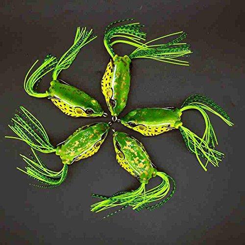 5pcs Topwater Frog Fishing Lure Crankbait Bass Hook Baits 5.5cm each