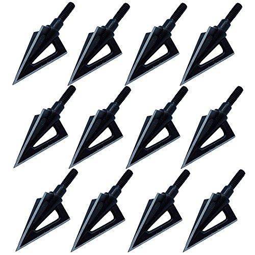 Jreameast 100 Grain Metal 3-blade Broadheads Hunting Shooting Arrowhead Archery Tips Pack of 12