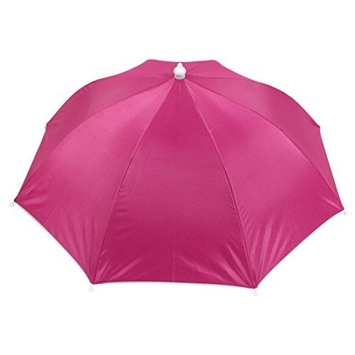 Elastic Band Portable Sun Protective Fishing Umbrella Hat Fuchsia