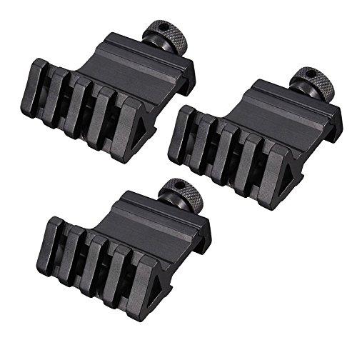 HooGou 3 Pcs 45 Degree 20mm 4 Slots Offset Angle Rail Mount Picatinny Weaver Style for Mounting Flashlight Sight Black 3 Pack