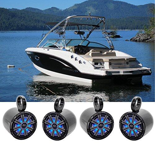 4 KICKER 45KM84L 8 1200 Watt Marine Boat Wakeboard Tower Speakers wLEDs KM8