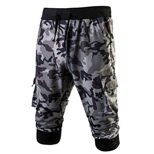 Hsumonre Mens Camo Tactical Pants Mid-Calf Military Shorts Casual Joggers Camping Hunting Sweatpants Camo Gray US XLTags XXXL