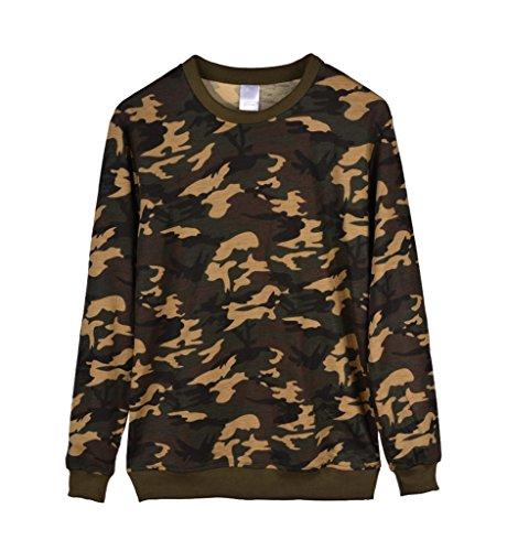 Mens Camo Multicam Sweatshirt Camouflage Crewneck Performance Combat Sweater XL Dark Multi