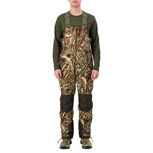 HUNTSHIELD Mens Hunting Waterfowl Bib Pants  Real Tree Max-5 Water-Resistant Hunting Pants  Camo