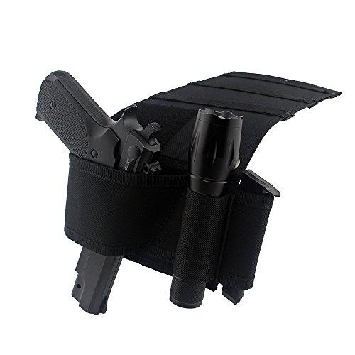 Depring Under Mattress Gun Holster Adjustable Bedside Handgun Holster Under Truck Car Seat Pistol Holder Closet Wall Gun Holster with Tactical Flashlight Loop Magazine Holder Fits Most Handguns