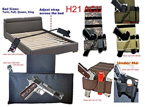 JRui Quick Access Under Mattress Gun Holster Car Seat Pistol Holder Handgun Holster under Bed Handgun Case