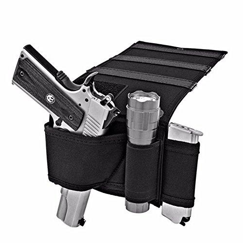 RANOGI Adjustable Under Mattress Bedside Pistol Holster Car Seat Desk Closet Gun Handgun Holster with Flashlight Loop Magazine Holder Black
