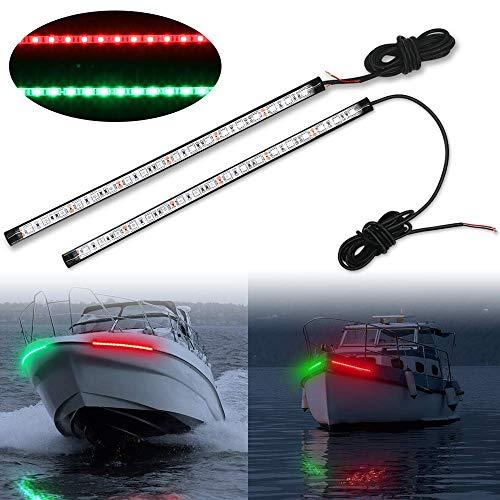 Obcursco 12 Inch LED Boat Bow Navigation Light Kits for Marine Boat Vessel Pontoon Yacht Skeeter - 1 Pair - Red Green