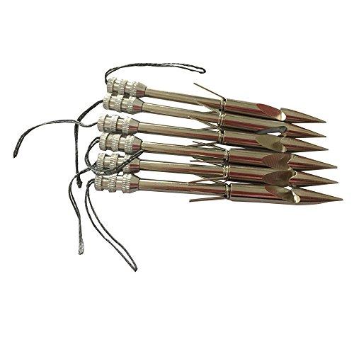 jiexi fashion 36 Stainless Steel Fishing Arrow Broadheads Slingshot Catapult Arrow Shaft Pack of 6